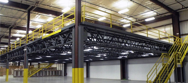 large mezzanine inside a plant or warehouse
