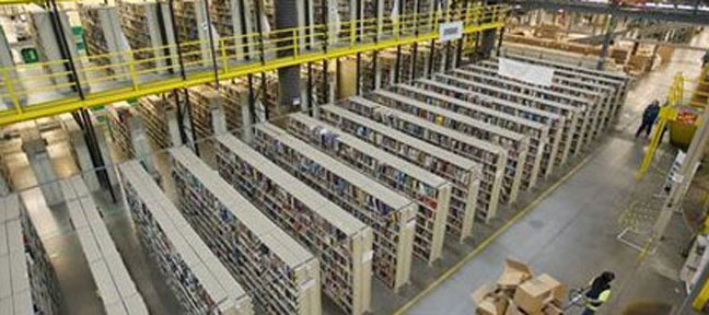 aerial view of shelving units inside a plant